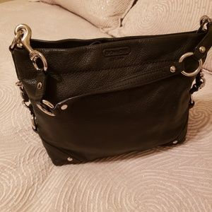 Coach Carly Black Pebbled Leather Hobo Bag